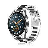 Fintie Correa para Huawei Watch GT2 / Huawei Watch GT Sport/Active/Classic 22mm Pulsera de Repuesto de Acero Inoxidable Banda Ajustable de Metal, Plateado+Negro