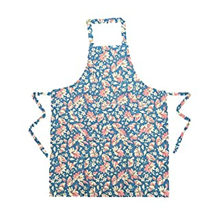 Ladies Floral Full waist tie apron with Front split pocket One Size Blue
