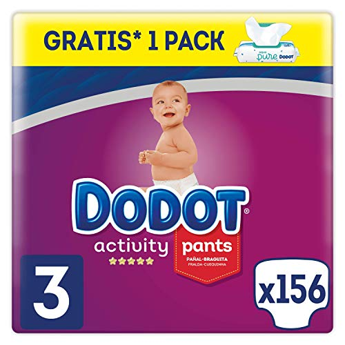 Dodot Activity Pants - Pañales Braguitas, talla 3, Aqua Pure, 48 toallitas gratis, total de 156