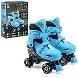 Xootz Kids Quad Skates, Beginner Adjustable Roller Skates Boys, Blue/Black