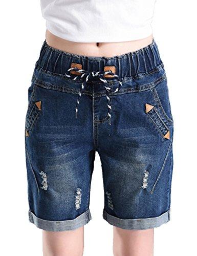 PHOENISING Women's Distressed Fabric Denim Shorts Stretchy Elastic Band Waist Jeans