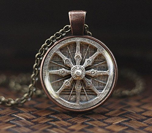 Dharma Rad Halskette, Buddhismus Halskette, Buddhistischer Schmuck, Mandala Buddhistische Anhänger, heilige Geometrie Halskette, Meditationskette