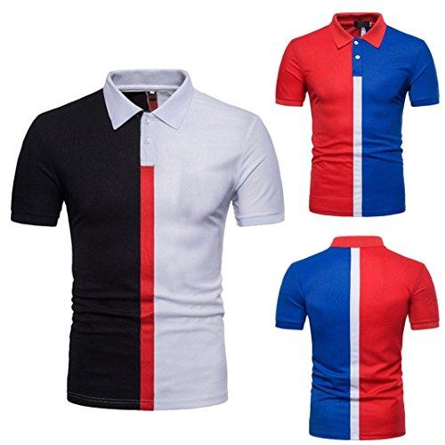 T-Shirt, Malloom Chemisier à Manches Courtes Slim Patchwork Casual pour Hommes