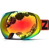 ZIONOR Lagopus X10 Rahmen / Rahmenlos Snowboard Skibrille mit Abnehmbar PC Linse 100% UV400 Schutz Anti-Fog Periphere Anzeigen mit Fixpunkt Anti-Rutsch
