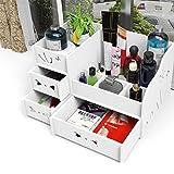 DIY hölzerne zusammenbauen Schreibtisch Verfassungs Organisator Kosmetik Halter Kasten mit Fach Badezimmer Aufbewahrungsbehälter(Weiß)