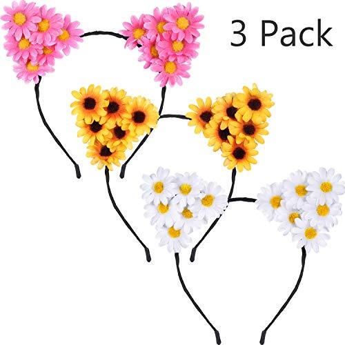 3 Stücke Daisy Blume Katze Ohren Stirnbänder Sunflower Stirnband Gänseblümchen Floral Stirnband für Damen Mädchen Halloween Festival Party Requisiten (Halloween Daisy Für Blume-kostüme)