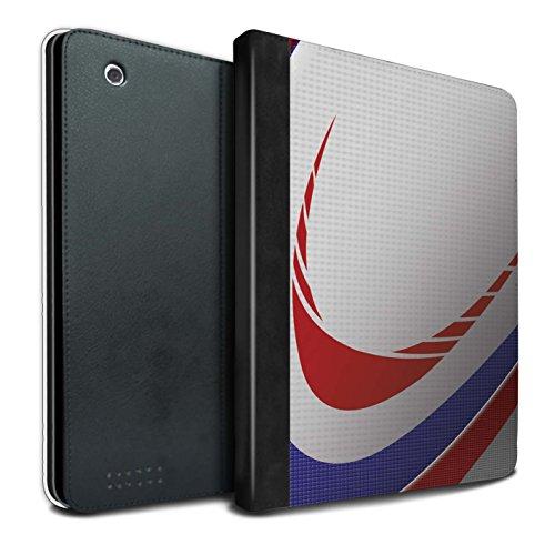 Stuff4® PU-Leder Hülle/Case/Brieftasche für Apple iPad 2/3/4 Tablet/Rugby Muster/Sport Bälle/Ball Kollektion - 3/4-rugby