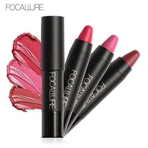 Rouge à lèvres,Honestyi FOCALLURE Rouge à lèvres longue durée Crayon rouge à lèvres crayon velours rouge Maquillage rouge à lèvres mat hydratant (004)