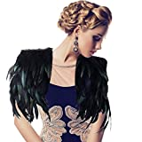 ANGTUO Black Feather Shawl Hand-Sewn Peacock Shawl Party Evening Dress Cape Fashion for Nightclub Ds Female Singer Performance Jazz Stage Feather Clothing