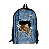 Moolecole Unisex 3D Cute Cat/Dog Patterns Daypack Backpack Boys Girls Casual School Bag Rucksack Cartoon Patterns Shoulder Bags Perfect for School and Travel