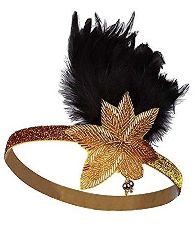 Mädchen 1920s Feder Stirnband, Tukistore Vintage 20er Jahre Haarband Strass Stirnband mit Feder Kristallhaar-Zusätze Great Gatsby Stirnband Mädchen Kostüm - Great Gatsby Kostüm Mädchen