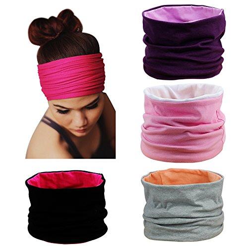 Photo Gallery hbf 4 pezzi di fascia capelli donna in cotone traspirante accessori sportivi donna colori diversi fasce sportive da yoga