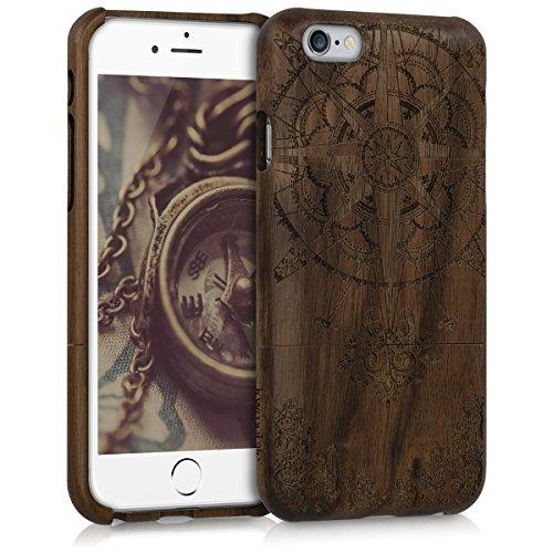 kwmobile Hülle für Apple iPhone 6 / 6S - Rosenholz Case Handy Schutzhülle - Hardcase Cover Indische Sonne Design Dunkelbraun Kompass Barock Dunkelbraun