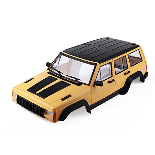 INJORA RC Auto Karosserie Cherokee Car Shell für 313mm Radstand 1/10 RC Crawler Axial SCX10 & SCX10 II 90046 90047 (Painted Hartplastik Gelb)