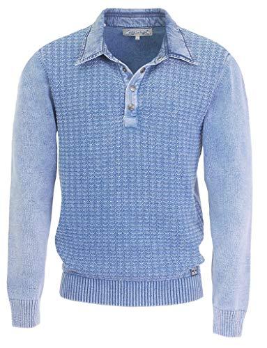 Piece of Blue Herren Polo Pullover Raute Indigo oder Sky wash 100% Baumwolle, exclusiver Strickpullover - Nachfolger von Blue Willis Gr.M, Gr.L, Gr.XL, Gr. XXL, Gr.XXXL, Größe:M, Farbe:Sky wash