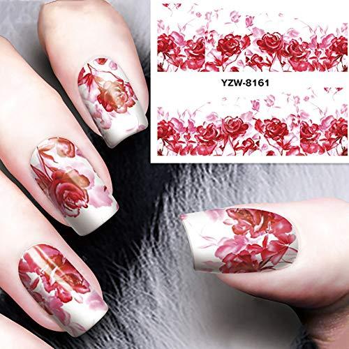 AchidistviQ Fashion Frauen Rose Blume Nail Art Sticker 3D Water Transfer DIY Maniküre Aufkleber YZW Nagelsticker 3D strukturierte Nägel Multi