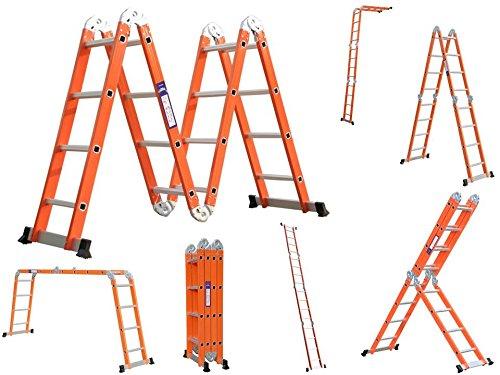 6 in 1 Alu Anlegeleiter Leiter Mehrzweckleiter Klappleiter Gelenkleiter Orange