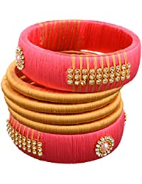 AKSHAYASRI Gold And Pink Plastic And Silk Thread Bangle Set For Women