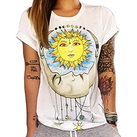 Sannysis Donna Top Sun Moon Stampa T-shirt manica corta Camicetta casual Estate (bianco, XXL)