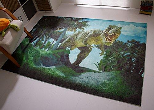 (Dinosaurier Teppich Dino Kinderteppich Kinderzimmer T-Rex in grün blau, Ökotex Zertifiziert, Größe: 80x150 cm)