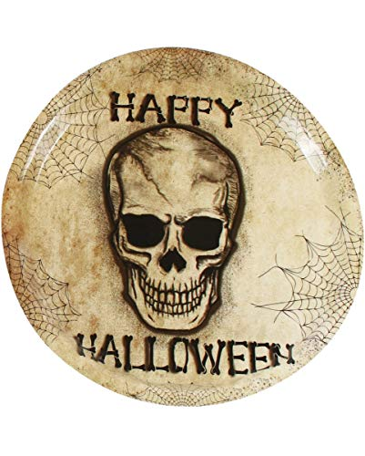(Horror-Shop Kunststoff Teller Happy Halloween Skull als Tablett | 35cm)