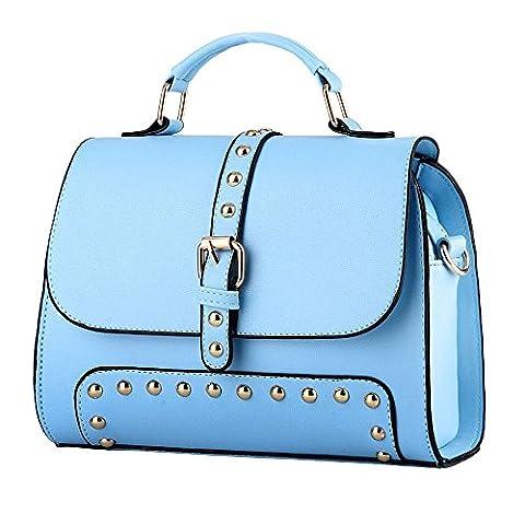 koson-man Femme Vintage Boucle Bandoulière Sac À Poignée Supérieure Sac à main Sacs, bleu (Bleu) - KMUKHB293