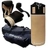 ScSPORTS DG03 Box-Set II. Wahl für Erwachsene Boxsack Boxhandschuhe Boxbandagen Tasche 12 kg Kunstleder gefüllt