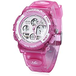 Leopard Shop HOSKA H003B Multifunctional Children Sport Watch Dual Movement Chronograph Calendar Alarm EL Backlight LED Wristwatch Water Resistance Pink