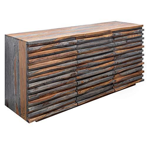 Invicta Interior Massives Sideboard Relief 160cm Sheesham Holz grau Smoke Finish mit aufwändiger Front Kommode Anrichte