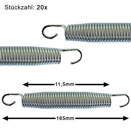 Trampolin awm® Federn 20x Ersatzfedern 16,5cm (165mm) Sprungfedern Ersatzteil für Sprungmatte