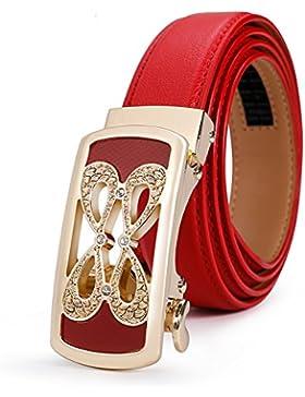 Simple Cinturón Todo A Juego/Correa Decorativa De La Manera/Cinturón De Hebilla Automática-rojo 115cm(45inch)