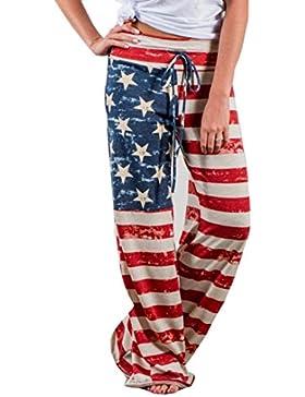 Pantalones Flojos de la Pierna de la Bandera Americana de la Moda de Las Mujeres Pantalones Anchos de la Pierna...