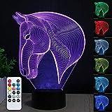 3D Cavallo LED Luce notturna, illusione creativa Cavallo Effect USB di ricarica LED Night Lamp con 7 colori che cambiano per la casa/decorazioni per ufficio,Touch Table Desk Lamp,Regalo per bambini