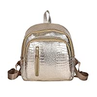 Bangle009 Casual Fashion Crocodile Pattern Faux Leather Shoulder Bag Backpack Women Rucksack - Silver