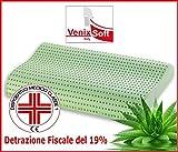 Cuscino MEMORY FOAM TRASPIRANTE VENIXSOFT anticervicale in LINFA DI ALOE VERA effetto rilassante e riposante-DISPOSITIVO MEDICO CLASSE I-Fodera cotone sfoderabile.MADE IN ITALY mis 70x40x10-12cm