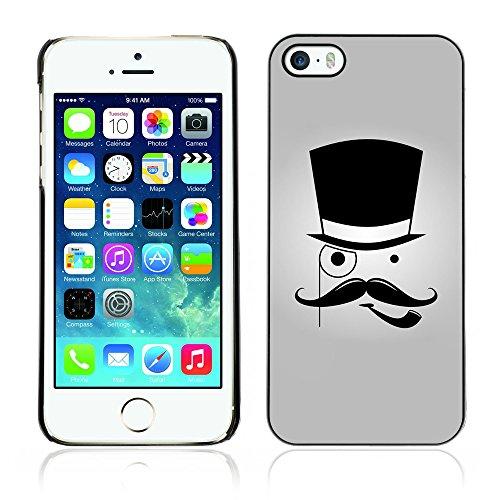 Graphic4You Mustache Schnurrbart Lustig Design Harte Hülle Case Tasche Schutzhülle für Apple iPhone 5 und 5S Design #7