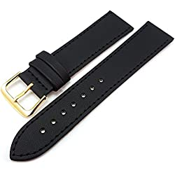Black Leather Watch Strap Band With A Stitched Edging And 18mm
