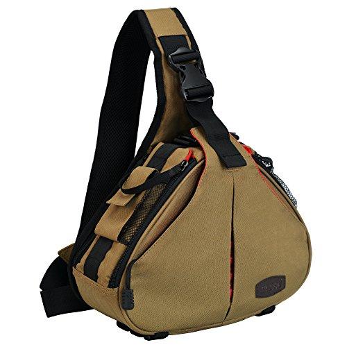 Caden Kompakte Kameratasche Sling Schulter Cross Bag Carry Umhängetasche Abnehmbare Gepolsterte Teiler für DSLR / SLR Sony Canon Nikon 1 Kamera 2 Objektiv Stativ(caqui) -