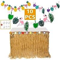 MIMIEYES Faldones de Mesa Hawaiana de Luau con Flores Tropicales y Pancartas para Garden Beach Summer Tiki BBQ Decoraciones de Fiesta (Amarillo)