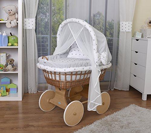 Preisvergleich Produktbild WALDIN Baby Stubenwagen-Set mit Ausstattung, XXL, Bollerwagen,komplett, 14 Farben wählbar,grau/Sterne-grau