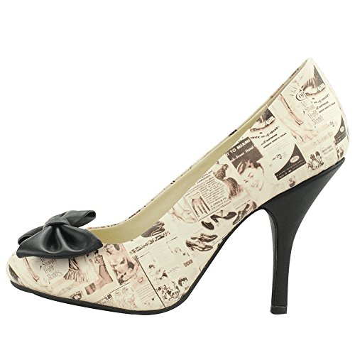 T.U.K. Shoes Womens Vintage Lingerie Print Bombshell Heels White & Multi Colour