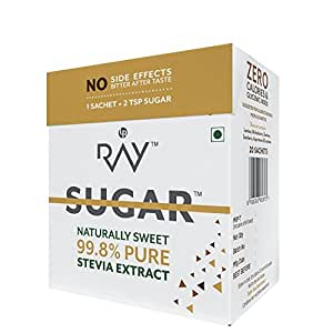 Ray Stevia Sugar Substitute Powder 20 gm (20 sachets) – Zero Calories & Glycemic Index (Pack of 4)