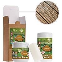 LIXUM Tropenholz HOLZSCHUTZ BIO (farblos) 500 ml = 15m²  - natürlicher Langzeitschutz für Holz, hält bis zu 10 Jahren, nur 1 Anstrich nötig. Mit integriertem UV-Schutz und ohne Weichmacher.