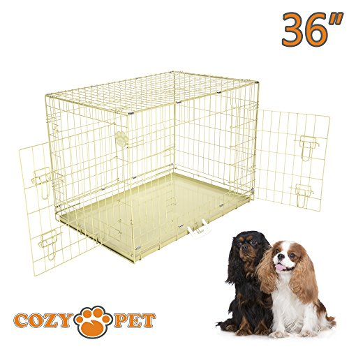 cozy-pet-dog-cage-36-beige-high-quality-metal-tray-folding-puppy-crate-cat-carrier-dog-crate-beige-i