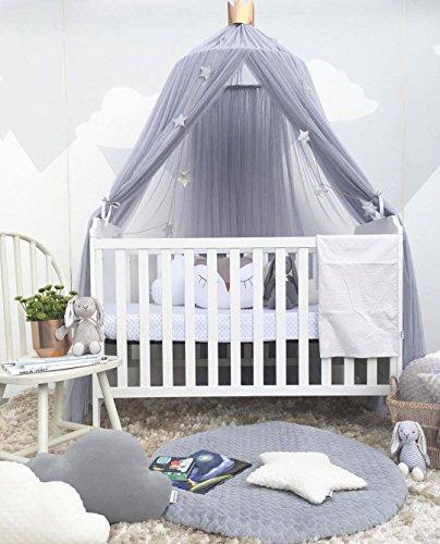 Betthimmel Baldachin Rund Babybett Moskitonetz Kinder Spielzelte Stubenwagen Himmelset Babybettausstattung Baldachin Kinderzimmer (Grau)