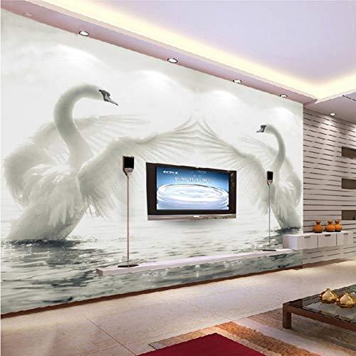 VVNASD 3D Aufkleber Wand Wandbilder Tapete Dekorationen Wohnzimmerschlafzimmer Hintergrundausgangsdekoration des Schwans Romantische Kunst Mädchen Schlafzimmer (W) 140X(H) 100Cm