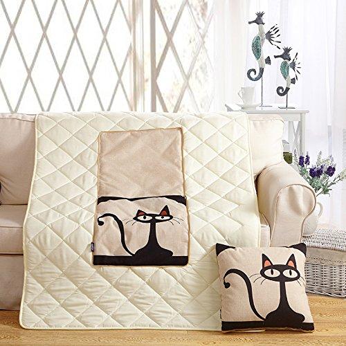 SCBED Le Bureau Oreiller Coussin Patchwork Quilt d'été Cool canapé Double Usage Car la climatisation est sur l'oreiller, la Couette 110 * 150cm,Monsieur Cat