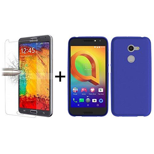 TBOC® Pack: Blau Gel TPU Hülle + Hartglas Schutzfolie für Vodafone Smart N8 (5.0 Zoll) - Ultradünn Flexibel Silikonhülle. Panzerglas Displayschutz in Kristallklar in Premium Qualität.