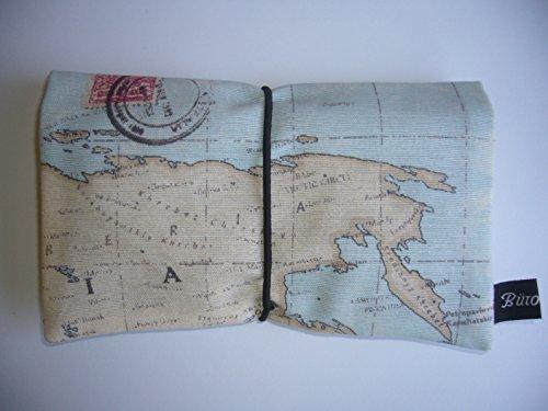 Büroteuse Tabaktasche / Drehertasche im braunem antikem Weltkarten Design, jede Tasche ein Unikat! Landkarte bunt