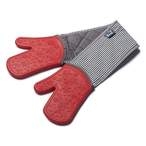 Zeal Silikon Heavy Duty Doppel Ofen Handschuhe Pad, dunkelgrau, Baumwolle, rot, 26 x 19 x 26 cm (Doppel Rot Ofen-handschuh)